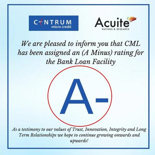 Centrum Microcredit Limited, Awards, CML has been assigned an (A minus) rating for the Bank Loan Facility